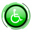 Accessibility green circle glossy icon — Stock Photo