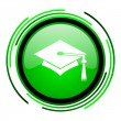 Graduation green circle glossy icon — Stockfoto