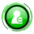 Remove contact green circle glossy icon — 图库照片 #25643801