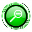 Magnification green circle glossy icon — Stock Photo #25644027