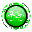 Bicycle green circle glossy icon — Stock Photo