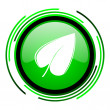 Stock Photo: Leaf green circle glossy icon