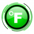 Stock Photo: Fahrenheit green circle glossy icon