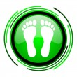 Footprint green circle glossy icon — Stock Photo
