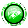 Money green circle glossy icon — Stock Photo