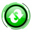 Rotate green circle glossy icon — Stock Photo