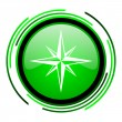 Stock Photo: Compass green circle glossy icon