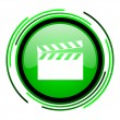 Movie green circle glossy icon — Stockfoto