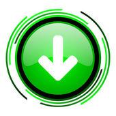 зеленый круг глянцевый иконка стрелка вниз — Стоковое фото