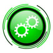 Engranajes verde brillante icono de círculo — Foto de Stock