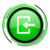 Insira o ícone de círculo verde brilhante — Foto Stock