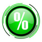 процент зеленый круг глянцевый значок — Стоковое фото