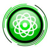 Atom green circle glossy icon — Stock Photo