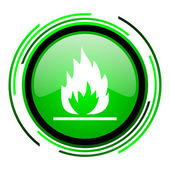 Flames green circle glossy icon — Stock Photo