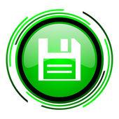 ícone do disco círculo verde brilhante — Foto Stock