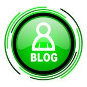 ブログの緑色の円の光沢のあるアイコン — ストック写真