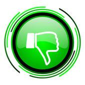 Polegar para baixo do ícone brilhante círculo verde — Foto Stock