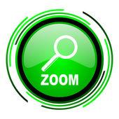 ícone brilhante de zoom círculo verde — Foto Stock