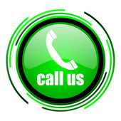 Call us green circle glossy icon — Stock Photo