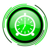 Alarm clock green circle glossy icon — Stock Photo