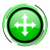 стрелки глянцевый иконка круг зеленый — Стоковое фото