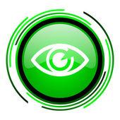 Icono brillante ojo círculo verde — Foto de Stock