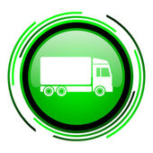 Delivery green circle glossy icon — Stock Photo
