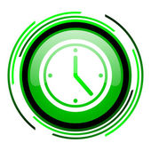 Clock green circle glossy icon — Stock Photo