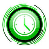 Clock green circle glossy icon — Stock Photo