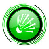 Bomb green circle glossy icon — Stock Photo