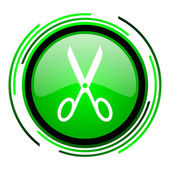 Scissors green circle glossy icon — Stock Photo