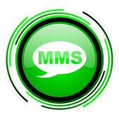 Mms green circle glossy icon — Stock Photo