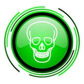 Icono brillante cráneo círculo verde — Foto de Stock