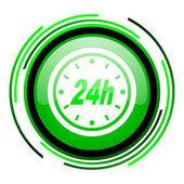 24h green circle glossy icon — Stock Photo