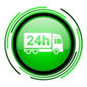 Delivery 24h green circle glossy icon — Stock Photo
