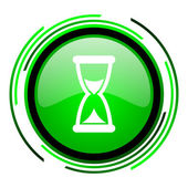 Time green circle glossy icon — Stock Photo