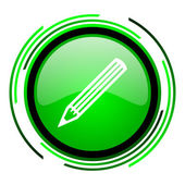 Pencil green circle glossy icon — Stock Photo
