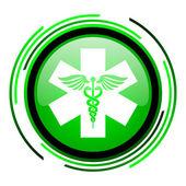 кадуцей зеленый круг глянцевый значок — Стоковое фото