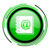 Endereço livro círculo verde lustroso ícone — Foto Stock