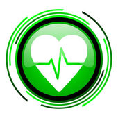 Pulse green circle glossy icon — Stock Photo
