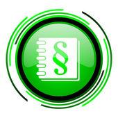 Zákon zelený kruh lesklý ikona — Stock fotografie
