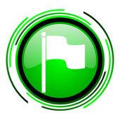 Bandera verde brillante icono de círculo — Foto de Stock