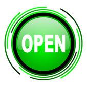 открытый зеленый круг глянцевый значок — Стоковое фото