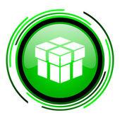 框中的绿色圆圈光泽图标 — 图库照片