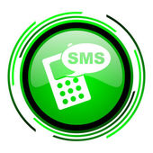 Sms green circle glossy icon — Stock Photo