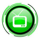 Tv green circle glossy icon — Stock Photo