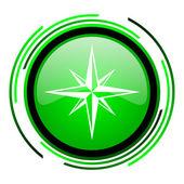 Compass green circle glossy icon — Stock Photo