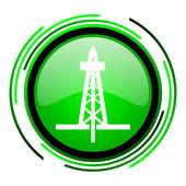 Drilling green circle glossy icon — Stock Photo