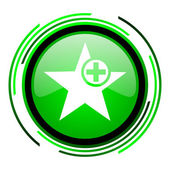 Icono brillante estrella círculo verde — Foto de Stock