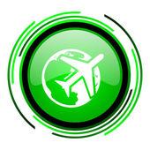 путешествия зеленый круг глянцевый значок — Стоковое фото